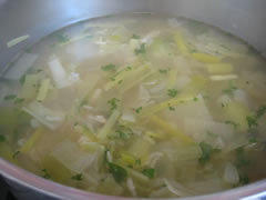 Simmer for one hour before adding rice