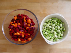 Carrot, beetroot, peas & broad beans