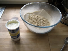 Buttermilk, flour and oats