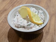 Finished smoked mackerel pate with a twist of lemon
