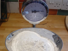 Weigh and sift flour(s)